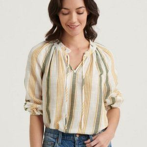 Lucky Brand Aubree Peasant Top Vertical Striped